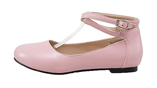 WeiPoot Pink Solid PU Women's Toe Closed No Pumps Buckle Heel Shoes Round rPrqSw5fW