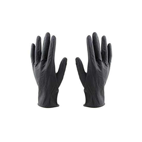 Lurrose 10Pcs Hair Salon Reusable Gloves Laboratory Latex Gloves Hair Color Dye Gloves Medium Size (Black)