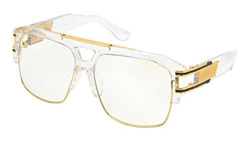 Men's VINTAGE HIP HOP RAPPER Style Clear Lens EYE GLASSES Large Gold Frame (Clear, - Eyeglasses Hip Hop