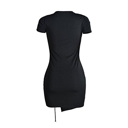 Femmes Cresay Bandage Moulante Sexy Moulantes Noir Sans Manches Partie Robe De Soirée Noire 003