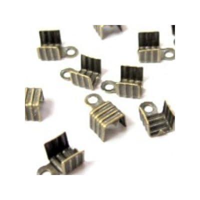 100pièces Bronze Tone pliante Embouts Connecteurs–A6564