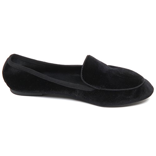 Black Windsor Velvet Loafer Woman Donna Mocassino without Nero Smith Box D5294 RAqaOR