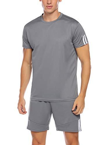 Hawtion Men's Sport Active Tracksuit Short Sleeve Striped Running Jogging Outfit Set Dark Grey