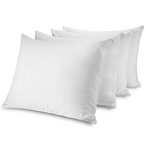 Mastertex Zippered Pillow Protectors 100% Cotton, Breathable & Quiet (4 Pack) White Pillow Covers Protects from Dirt, Dust Mites & Allergens (King - Set of 4-20x36)