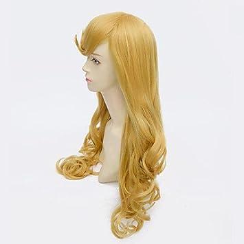 GSP-peluca aurora bella durmiente princesa largas pelucas cosplay de anime de oro rizado ,