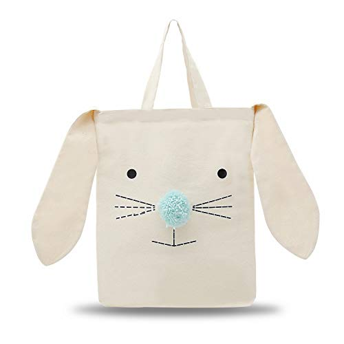 Cat Tote Bag Rabbit Bunny Nature Canvas Cotton Tote Bag for Kids, Unicorn Birthday Gift Handbag with Bunny Ear and Nose for Shopping ,School,Daily - Bunny Bag Gift