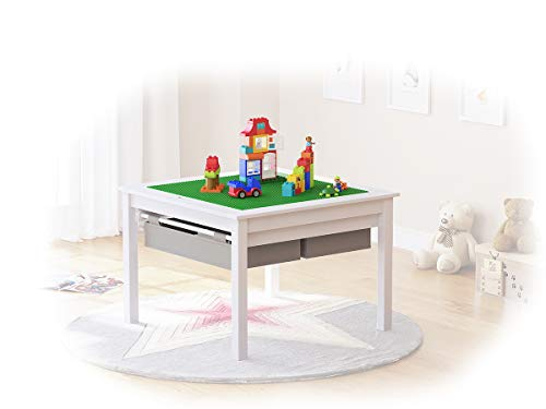 Toddler Activity Desk - UTEX 2 in 1 Kids Construction Play Table with Storage Drawers and Built in Plate (White)