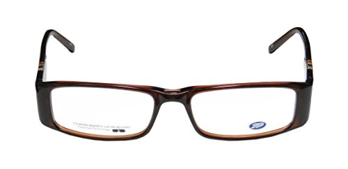 Boots 10w7 WomensLadies Rx Ready Sophisticated Designer Full-rim EyeglassesEyeglass Frame (51-16-135 Transparent Brown  Clear  Multicolor)