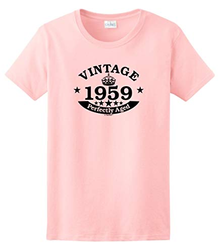60th Birthday Gifts for Dad 60th Birthday Gift Vintage 1959 Perfect Aged Crown Ladies T-Shirt Small Light Pink