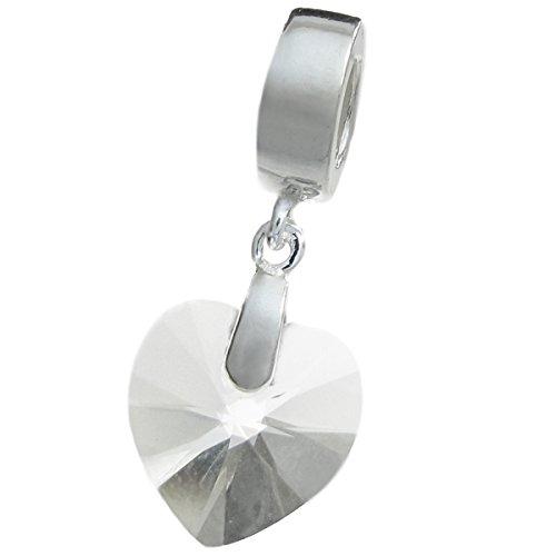 925 Sterling Silver Birthday April Clear Heart European Dangle Charm using Swarovski Elements Crystal -