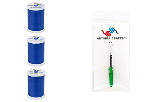 Coats & Clark Dual Duty XP General Purpose Poly Thread 250 Yds (3-Pack) Yale Blue with 1 Artsiga Crafts Seam Ripper S910-4470-3P (Thread Sewing Yale)