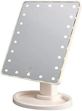 22 LEDライトメイクアップミラータッチコントロール導かバニティミラーポータブル360度回転LEDメイクアップミラー