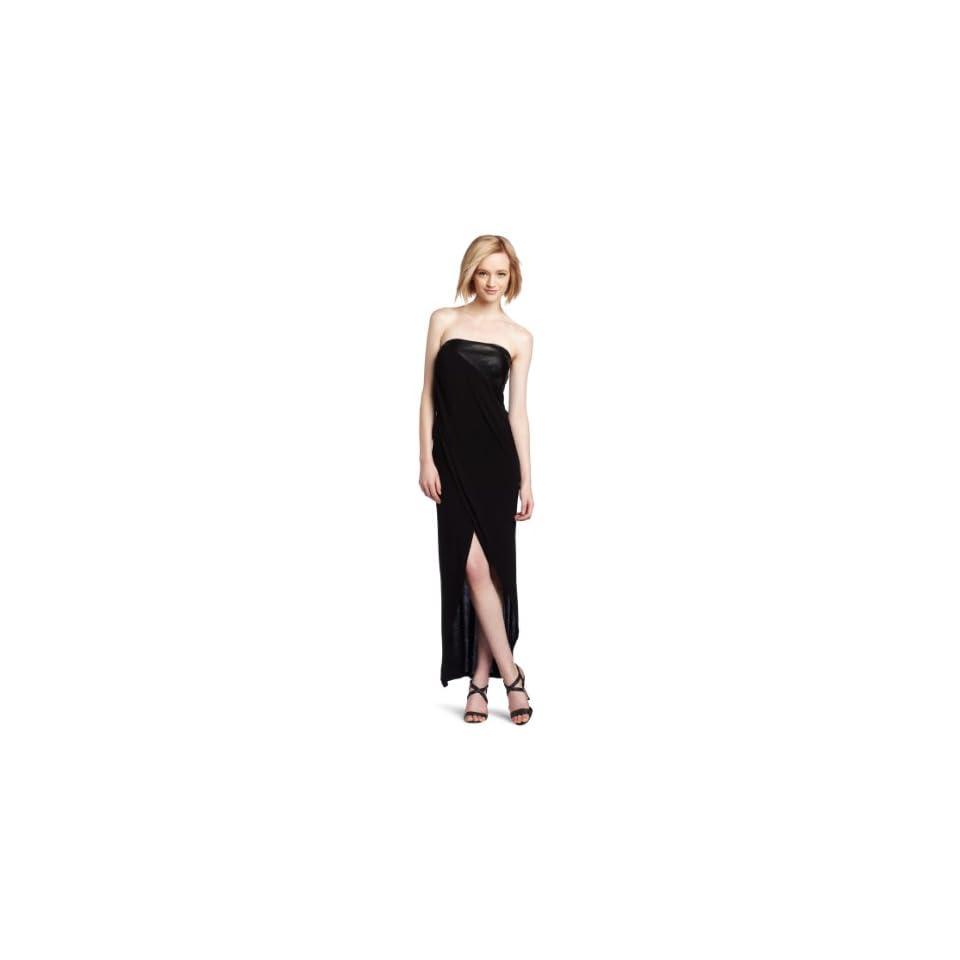 David Lerner Womens Strapless Draped Dress, Black, X Small