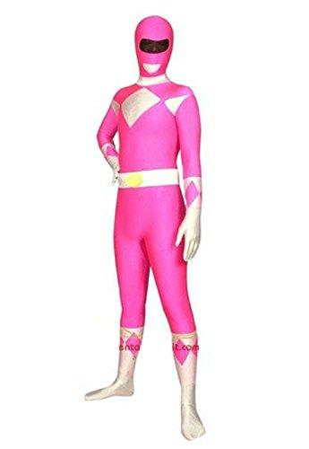 Mens Pink Power Ranger Costume (Riekinc Halloween Power Rangers Cosplay Pink Zentai Suit Costume)