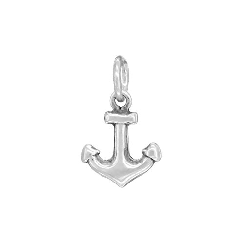 Charm Anchor Small (Sterling Silver Small Tiny Anchor Charm Pendant, 1/2 inch tall)
