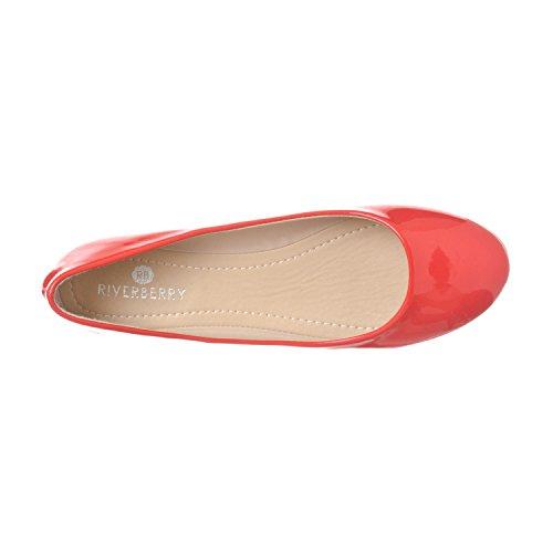 Riverberry Damen Aria Basic Geschlossene Runde Zehe Ballett Flache Slip On Shoe Coral Patent