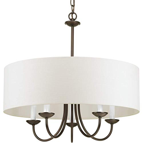 Progress Lighting P4217-20 5-Lt. Chain Hung Fixture Off-white linen fabric shade ()