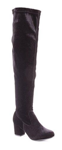 Boots Thigh Women's Heel Velvet Knee Black Chunky The High Albert Over Charles qSxwWvTEn