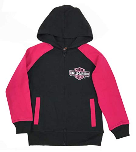 Harley-Davidson Big Girls' Glittery B&S Knit Zippered Hoodie, Black/Pink (10/12)