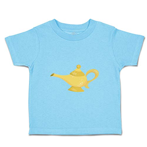 Custom Baby & Toddler T-Shirt Genie Lamp Cotton Boy & Girl Clothes Funny Graphic Tee Aqua Blue Design Only 3T