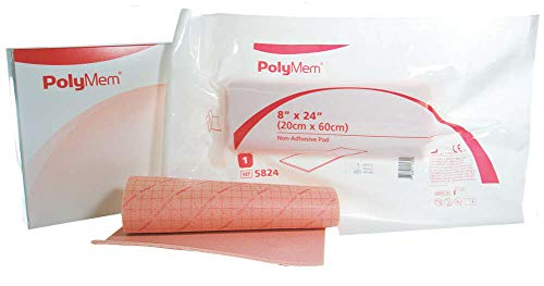 PolyMem Non-Adhesive Wound Dressing, Sterile, Foam, 8' x 24' Pad, 5824 (Case of 2)