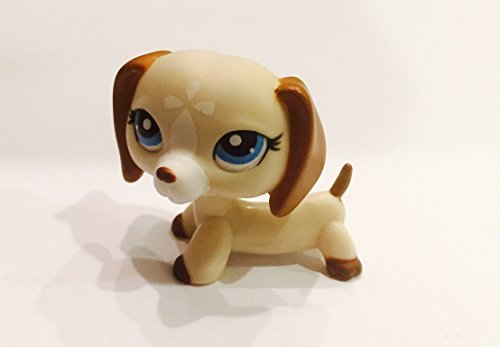 Pet Loose Figure Shop Littlest (Dachshund #1491 (Tan, Blue Eyes) - Littlest Pet Shop (Retired) Collector Toy - LPS Collectible Replacement Single Figure - Loose (OOP Out of Package & Print))