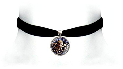 Victorian Vault Kraken Octopus Black Velvet Choker Steampunk Gothic Pendant Necklace