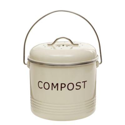 Komposteimer, cremefarben, mit austauschbarem Aktivkohlefilter und Deckel, 3,5 L
