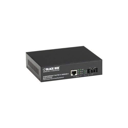 (BLACK BOX CORPORATION PoE PSE Gigabit Media Converter - Network (RJ-45) - 10/100/1000Base-T, 1000Base-SX - Desktop / LPS500A-MM-LC /)