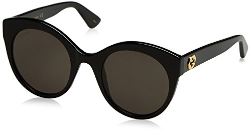 Gucci Women's GG0028S GG/0028/S 001 Black/Gold Fashion Sunglasses - Glasses Online Gucci