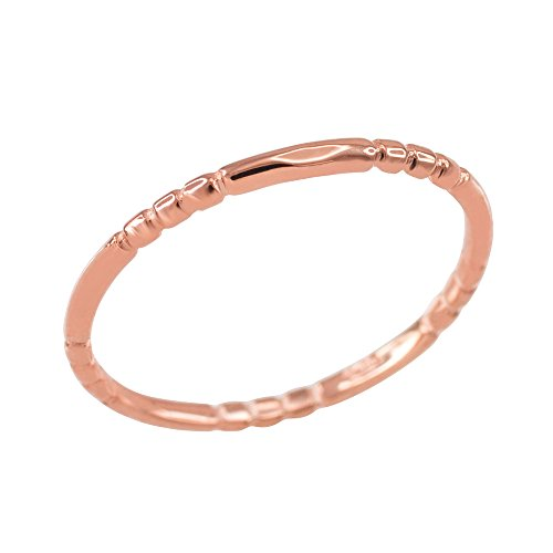 Finger Beaded Knuckle Ring in 10k Rose Gold (Size 8)
