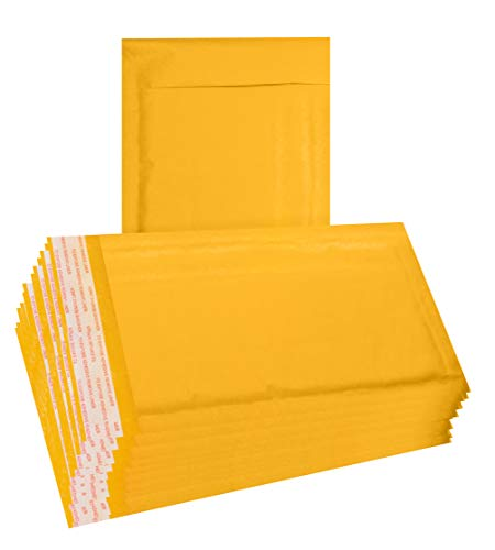25 Pack Yellow Kraft Padded Envelopes 5x9 Bubble Mailers 5 x 9. Gold Kraft bubble envelopes Peel and Seal. Cushion envelopes for mailing, packing, packaging. Shipping mailers in bulk, wholesale.BPNatu