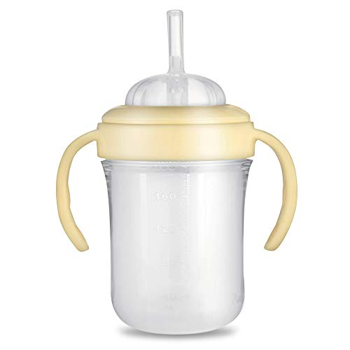 [New 2019 Version] Putti Atti Silicone Baby Bottle Sippy Cup with Handles, Natural Newborn Feeding Bottle, BPA Free [Straw Type, 6.8 fl oz]