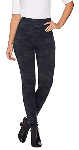 SPANX Women's Seamless Camo Leggings, Black Camo, Large