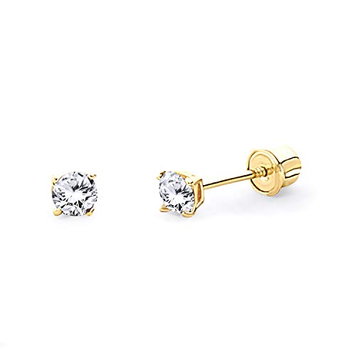 14k Yellow Gold Round Solitaire Basket Set Stud Earrings with Screw Back - 7 Different Size Available