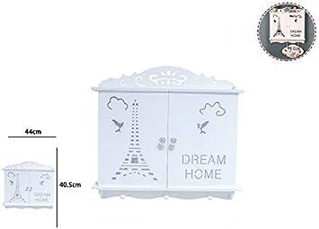 Takestop® - Caja porta llaves 2 puertas Dream Home Torre Eiffel RF_65396 llavero casa de madera blanca con 3 ganchos Key Box caja diseño decoración casa pared: Amazon.es: Electrónica