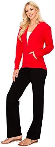 EttelLut Lightweight Comfy Cotton Casual Active Full Zip-up Plain Hoodie Jacket for Women
