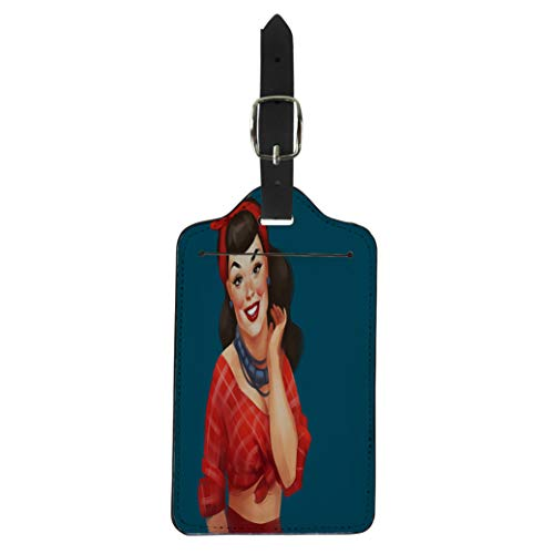 Pinbeam Luggage Tag Retro Pin Up Woman Red Cheeks Long Black Suitcase Baggage Label ()