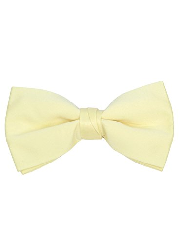 Young Boy's Light Yellow Pre-tied Clip On Bow Tie - Formal Tuxedo Solid Color