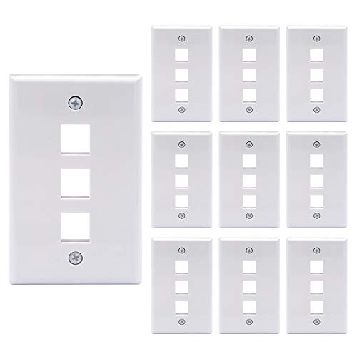 VCE 10 Pack 3-Port Keystone Wall Plate for Keystone Jack and Modular Inserts- White UL Listed (Cat5e Wall Plate Red)