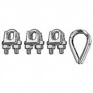 RONSTAN 316 Stainless Steel Wire Rope Clip and Thimble Kit, 3/8 in
