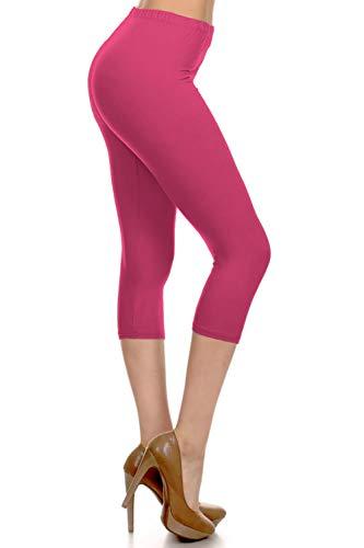 - NCPRX128-FUCHSIA Capri Solid Leggings, Plus Size
