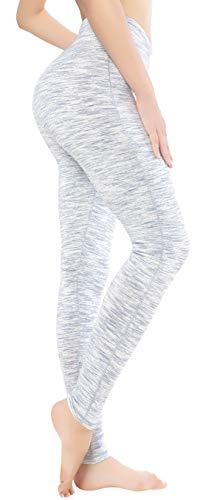 QUEENIEKE Women Power Flex Yoga Leggings Workout Tights Running Pants Size M Color White Grey Space Dye Long
