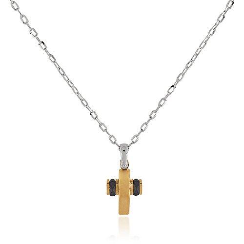 Gioiello Italiano–Collier pendentif en forme de croix en or jaune et blanc avec céramique noire