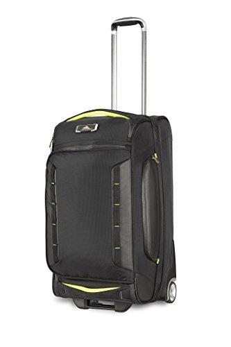 High Sierra AT8 Wheeled Upright Duffel Bag, Black/Zest, 26