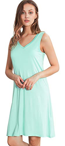 WiWi Bamboo Sleeveless Chemise Nightgowns for Women V Neck Sleep Shirts S-XXXXL(4XL), Aqua, Small