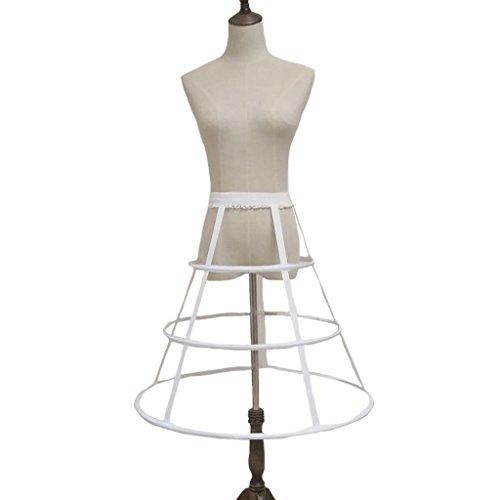 FunStation Women's Hoop Skirt Pannier Petticoat Crinoline Underskirt Bustle Cage Skirt (3 Hoops White) by FunStation