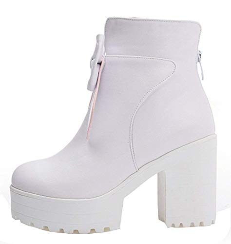 Platform Womens Bow Shoes Winter Vitalo Up High Boots Heel with Chunky Ankle Autumn White Zip w4xHSI1x
