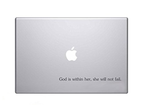 God Is Within Her, She Will Not Fail. Psalm 45:5 Bible Verse Vinyl Car Sticker Symbol Silhouette Keypad Track Pad Decal Laptop Skin Ipad Macbook Window Truck Motorcycle, Decal Sticker - Verse Decals Bible Laptop