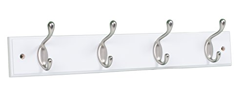 BirdRock Home Oval Hook Coat and Hat Rack | 4 Hooks | Wall Mount | White Finish | Satin Nickel Hooks